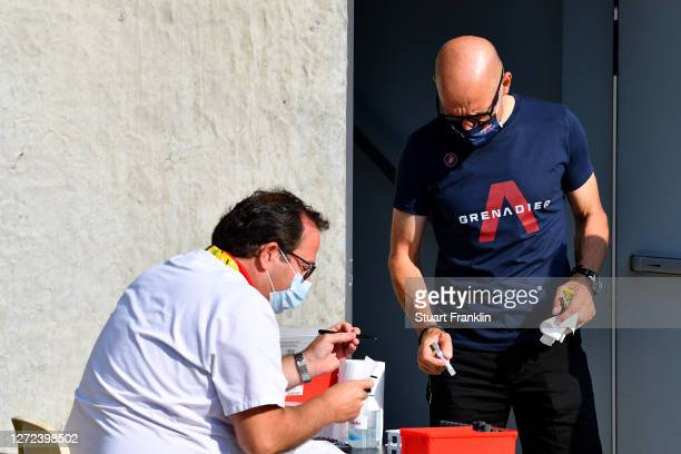 Sir Dave Brailsford of The United Kingdom Senior manager of Team INEOS Grenadiers / Test / Mask / Covid safety measures / during the 107th Tour de...