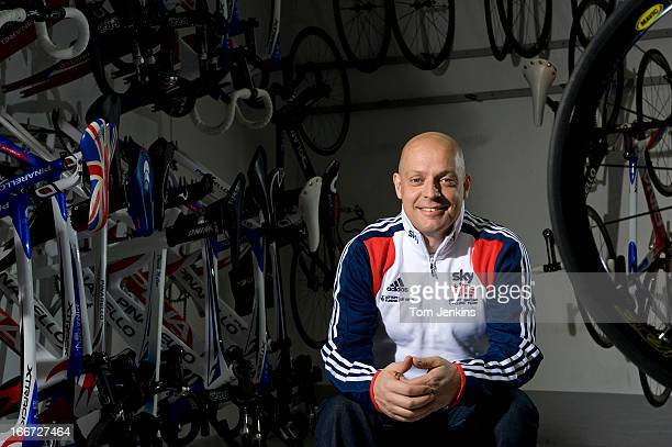 Sir Dave Brailsford, performance director for British Cycling, poses for a portrait in the store room at the National Cycling Centre on February 1,...