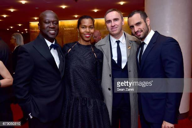 Sir David Adjaye Ashley ShawScott Raf Simons and JeanGeorges d'Orazio attend the 2017 TIME 100 Gala at Jazz at Lincoln Center on April 25 2017 in New...