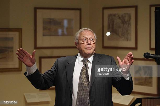 Sir David Attenborough addresses the audience at the opening of an exhibition of Edward Lear's artwork in the Ashmolean Museum on September 19 2012...
