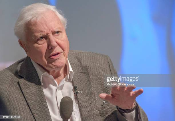 Sir David Attenborough addresses the UK Climate Assembly on January 25, 2020 in Birmingham, England. The assembly members will give up four weekends...