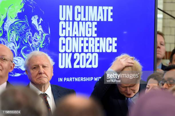 Sir David Attenborough and Prime minister Boris Johnson attend the launch of the UKhosted COP26 UN Climate Summit being held in partnership with...