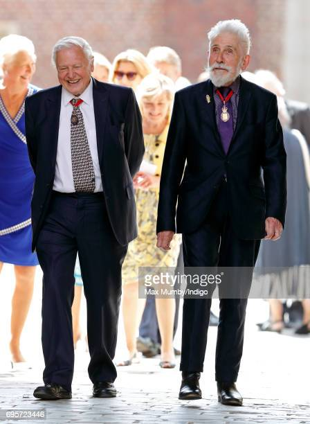 Sir David Attenborough and Sir Roy Strong arrive to attend Evensong at the Chapel Royal Hampton Court Palace to celebrate the Centenary of the...