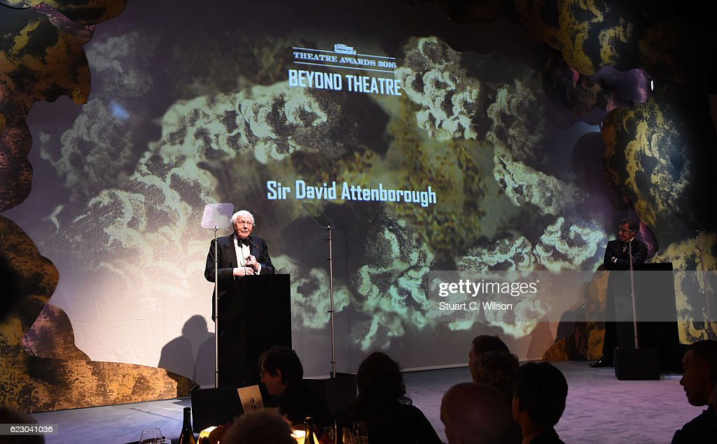 Sir David Attenborough attends The London Evening Standard Theatre Awards at The Old Vic Theatre on November 13, 2016 in London, England.