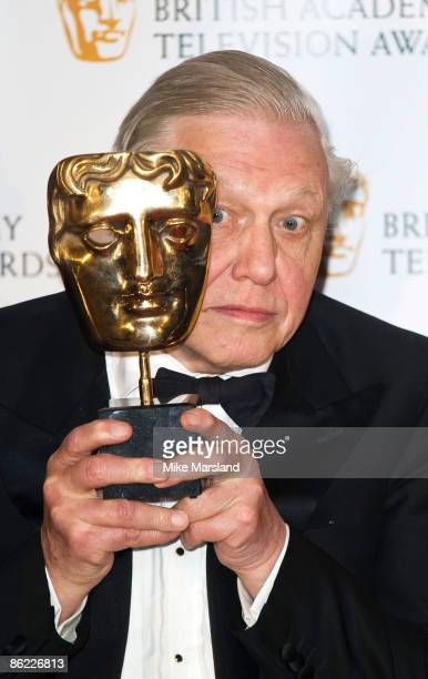 Sir David Attenborough poses with his award at the British Academy Television Awards Press Room at the Royal Festival Hall on April 26 2009 in London...