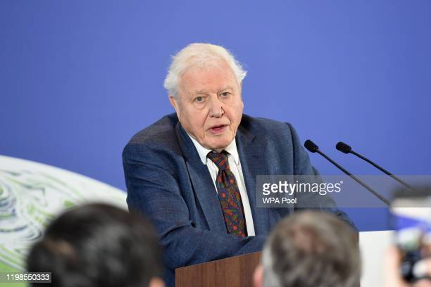 Sir David Attenborough speaks at the launch of the UKhosted COP26 UN Climate Summit being held in partnership with Italy this autumn in Glasgow at...