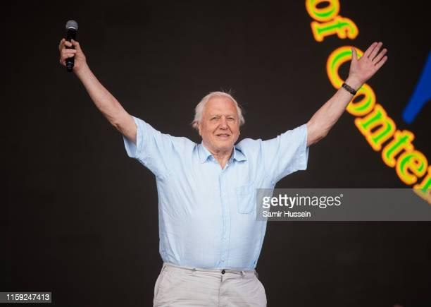 Sir David Attenborough talks on the Pyramid Stage on day five of Glastonbury Festival at Worthy Farm, Pilton on June 30, 2019 in Glastonbury, England.