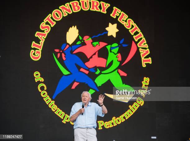 Sir David Attenborough talks on the Pyramid Stage on day five of Glastonbury Festival at Worthy Farm Pilton on June 30 2019 in Glastonbury England