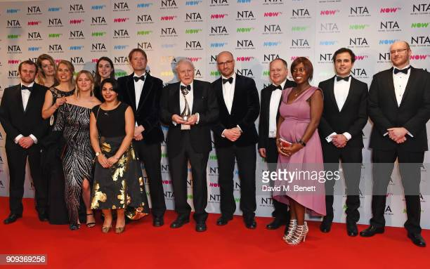 Sir David Attenborough winner of the Impact Award for Blue Planet 2 poses in the press room at the National Television Awards 2018 at The O2 Arena on...