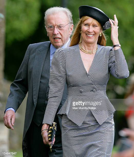Sir David Frost and Lady Carina Frost attend the wedding of Ben Elliot and MaryClare Winwood at the church of St Peter and St Paul Northleach on...