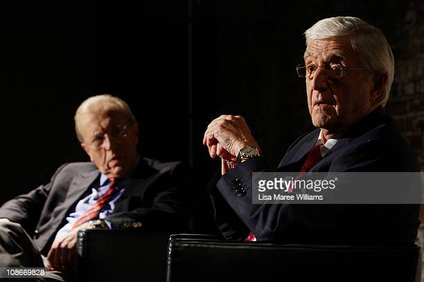 Sir David Frost and Sir Michael Parkinson attend a media conference at the Sydney Theatre Company on February 1 2011 in Sydney Australia The...