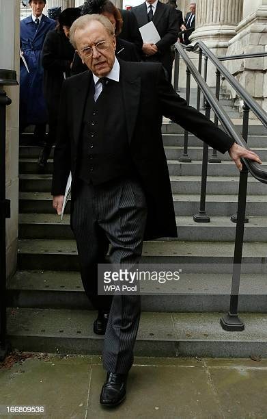 Sir David Frost leaves after attending the funeral service of former British prime minister Margaret Thatcher at St Paul's Cathedral on April 17 2013...