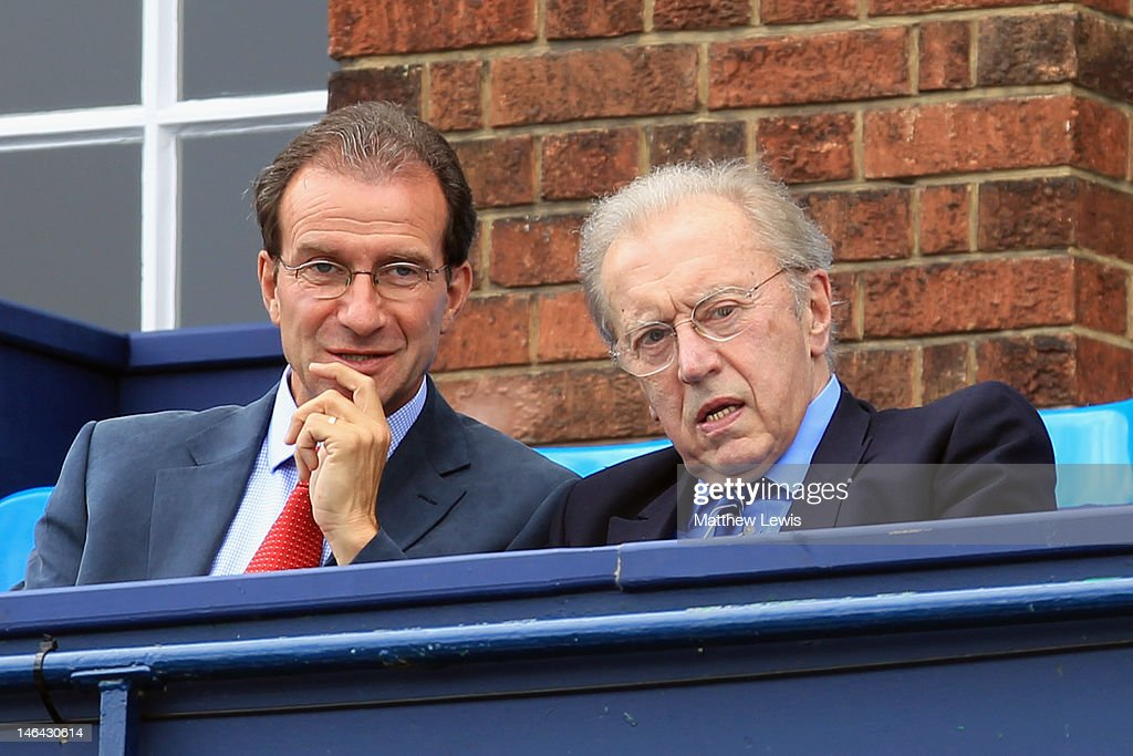 Sir David Frost watches on from the crowd as Marin Cilic of Croatia plays Sam Querry of the USA in the mens singles semi-final match on day six of the AEGON Championships at Queens Club on June 16, 2012 in London, England.