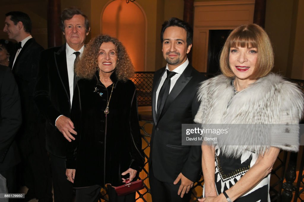 Sir David Hare, Nicole Farhi, Lin-Manuel Miranda and Anna Wintour attend a drinks reception ahead of the London Evening Standard Theatre Awards 2017 at the Theatre Royal, Drury Lane, on December 3, 2017 in London, England.