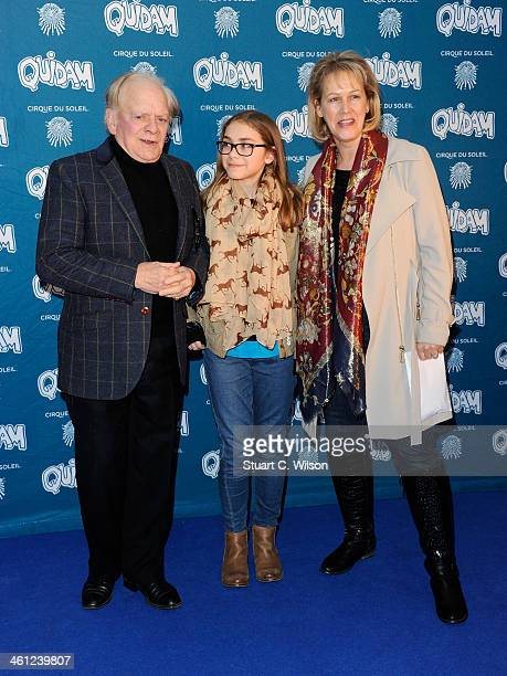 Sir David Jason with his daughter Sophie Mae and wife Gill Hinchcliffe attend the Cirque Du Soleil Quidam opening night at the Royal Albert Hall on...