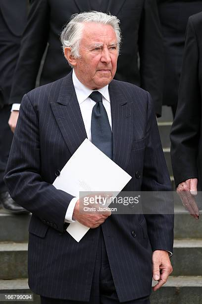 Sir David Steel attends the Ceremonial funeral of former British Prime Minister Baroness Thatcher at St Paul's Cathedral on April 17 2013 in London...