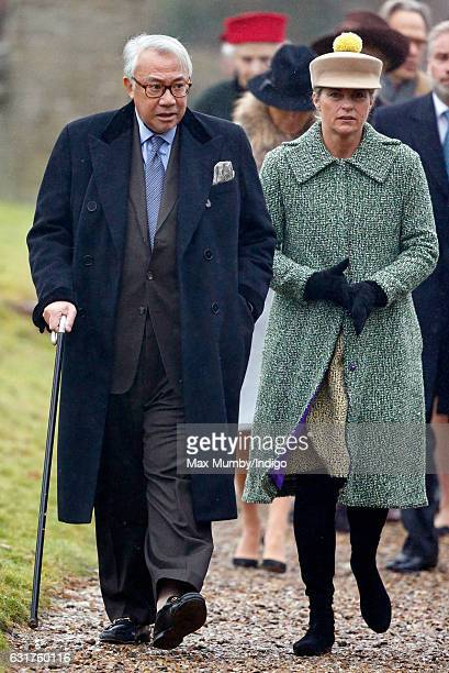 Sir David Tang and Lucy Tang attend the Sunday service at the church of St Mary the Virgin in Flitcham on January 15 2017 near King's Lynn England