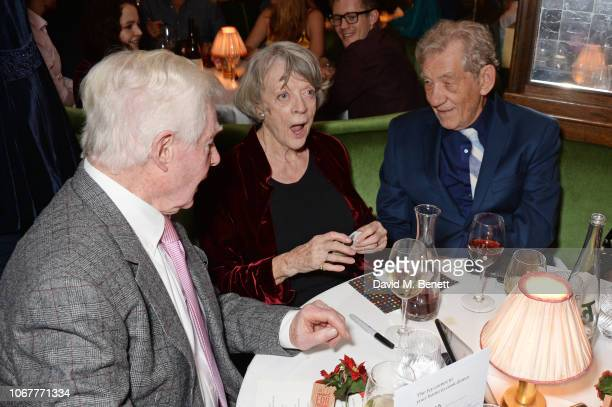 Sir Derek Jacobi Dame Maggie Smith and Sir Ian McKellen at the annual 'One Night Only At The Ivy' in aid of Acting For Others on December 2 2018 in...