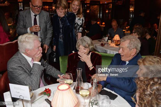 Sir Derek Jacobi Dame Maggie Smith and Sir Ian McKellen attend the annual 'One Night Only At The Ivy' in aid of Acting For Others on December 2 2018...
