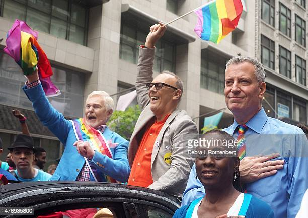 Sir Derek Jacobi Richard Clifford NYC Mayor Bill de Blasio and his wife Chirlane McCray during the 2015 New York City Pride Parade on June 28 2015 in...