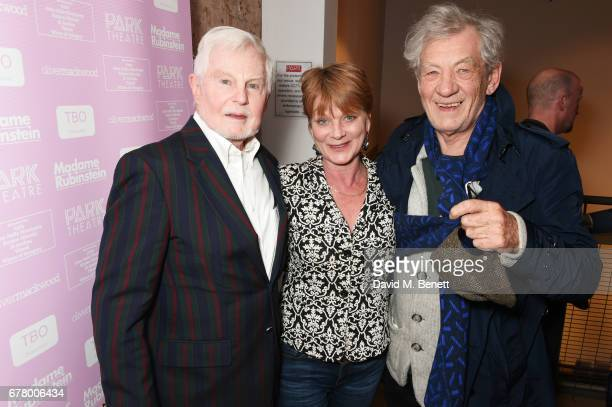 Sir Derek Jacobi Samantha Bond and Sir Ian McKellen attend the press night performance of 'Madame Rubinstein' at the Park Theatre on May 3 2017 in...