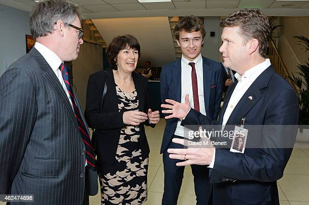 Sir Dermot Turing Rachel Barnes neice of Alan Turing son Tom Barnes and American Ambassador Matthew Barzun attend a special screening of The...
