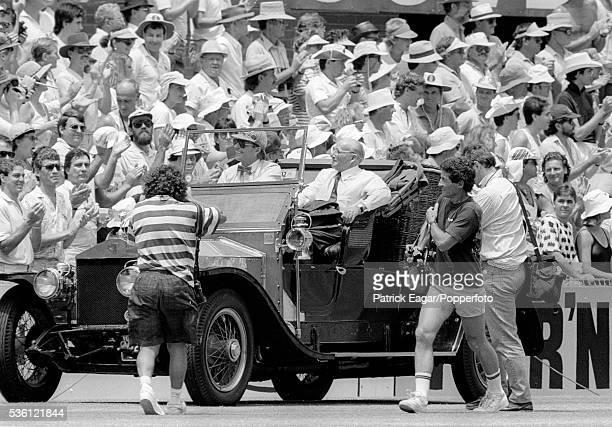 Sir Donald Bradman of Australia in a vintage Rolls Royce during the Bi-Centennial Test match between Australia and England at Sydney Cricket Ground,...
