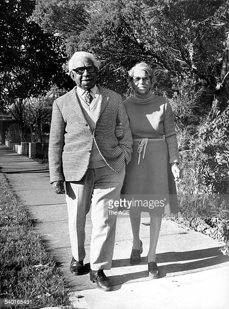 Sir Douglas and Lady Nicholls walking in the winter sunshine near their Ivanhoe home. 10th August, 1978. THE AGE NEWS Picture by ANDREW DE LA RUE.