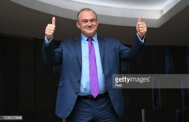 Sir Ed Davey reacts after being elected as the leader of the Liberal Democrats on August 27, 2020 in London, England. Sir Ed Davey succeeds Jo...