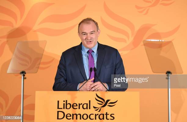 Sir Ed Davey speaks after being elected as the leader of the Liberal Democrats on August 27, 2020 in London, England. Sir Ed Davey succeeds Jo...