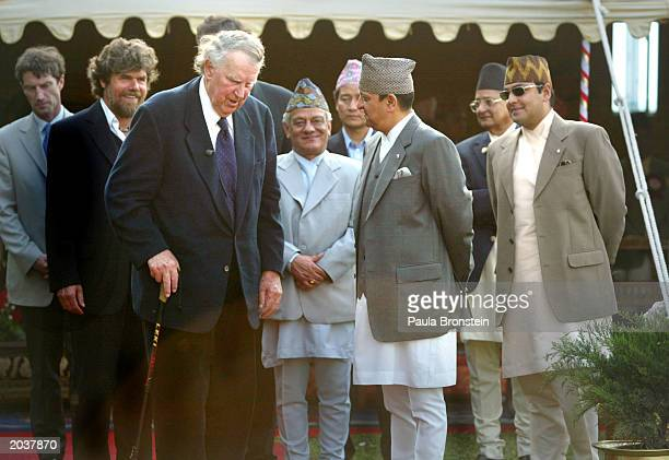 Sir Edmund Hillary and Everest climber Reinhold Messner meet with Nepalese King Gyanendra and Nepalese Crown Prince Paras Bir Bikram Shah Dev during...