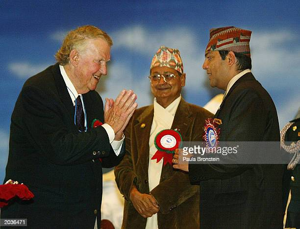 Sir Edmund Hillary greets Nepalese Crown Prince Paras Bir Bikram Shah Dev during ceremonies celebrating the 50th anniversary of the conquering of...