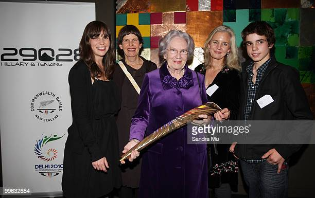 Sir Edmund Hillary's family Anna Boyen Sarah Hillary Lady June Hillary Yvonne Hillary and Alex Hillary with the Queen's Baton during a cocktail...