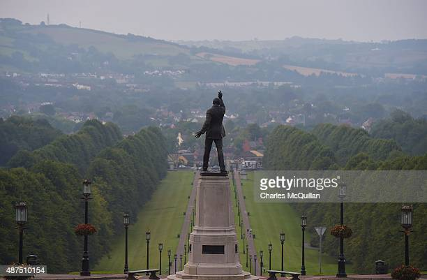 Sir Edward Carson's statue at Stormont as seen through early morning mist on September 10 2015 in Belfast Northern Ireland A political crisis has...