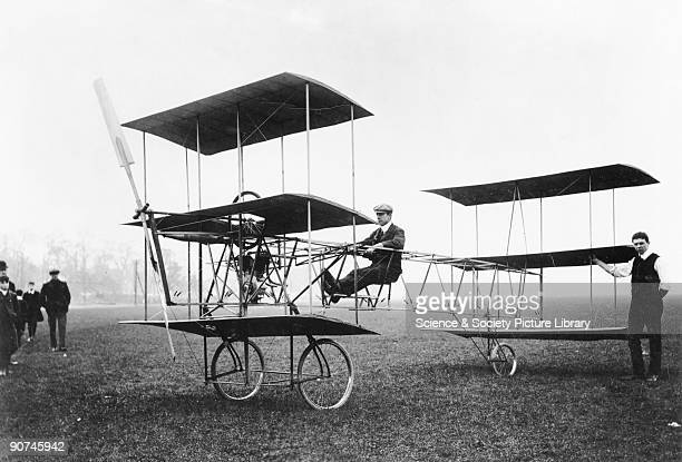 Sir Edwin Alliott Verdon Roe seen here at the controls was the first Briton to fly an allBritish aeroplane the Roe I on 13 July 1909 at Lea Marshes...