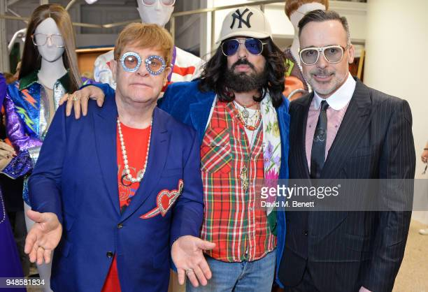 Sir Elton John Alessandro Michele and David Furnish attend the Gucci Elton John Capsule launch hosted by Dover Street Market Gucci at Dover Street...