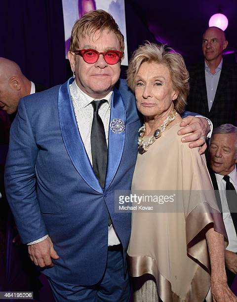 Sir Elton John and actress Cloris Leachman attend the 23rd Annual Elton John AIDS Foundation Academy Awards Viewing Party on February 22 2015 in Los...
