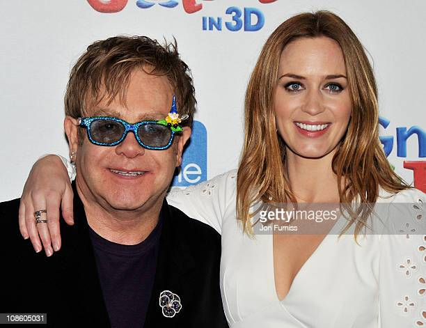 Sir Elton John and actress Emily Blunt attend the 'Gnomeo Juliet' premiere at Odeon Leicester Square on January 30 2011 in London England