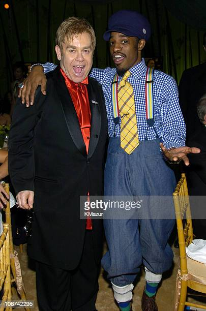 Sir Elton John and Andre 3000 of OutKast during 12th Annual Elton John AIDS Foundation Oscar Party Cohosted by In Style Inside at Pearl in West...