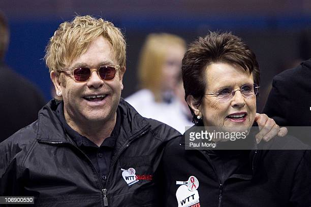 Sir Elton John and Billie Jean King attend the 18th annual World Team Tennis Smash Hits benefiting the Elton John AIDS Foundation at Bender Arena at...