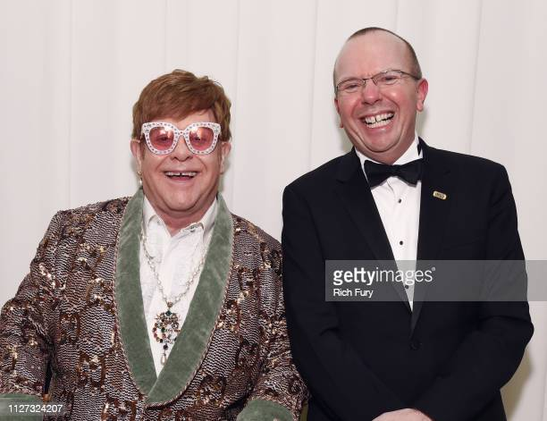 Sir Elton John and Col Needham attend the 27th annual Elton John AIDS Foundation Academy Awards Viewing Party sponsored by IMDb and Neuro Drinks...
