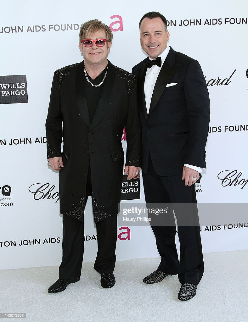 Sir Elton John and David Furnish arrive at the 20th Annual Elton John AIDS Foundation Academy Awards Viewing Party at Pacific Design Center on February 26, 2012 in West Hollywood, California.