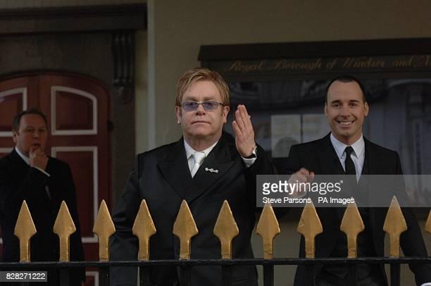 Sir Elton John and David Furnish arrive at the Civil Partnership Ceremony to mark the union of Sir Elton John and David Furnish