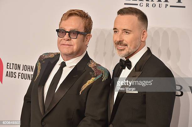 Sir Elton John and David Furnish attend 15th Annual Elton John AIDS Foundation An Enduring Vision Benefit at Cipriani Wall Street on November 2 2016...