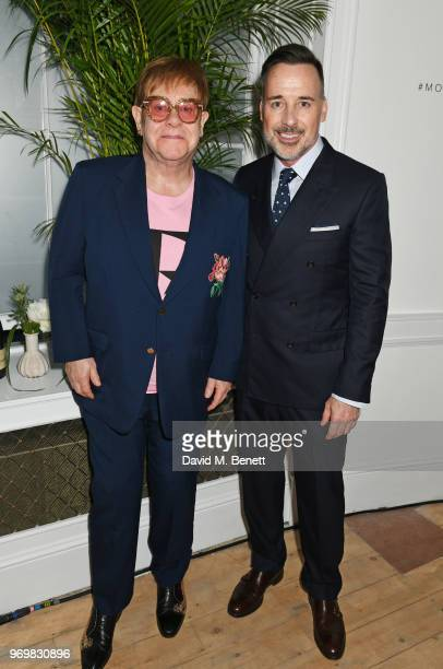 Sir Elton John and David Furnish attend a VIP dinner celebrating the launch of London Fashion Week Men's June 2018 hosted by David Furnish Dylan...