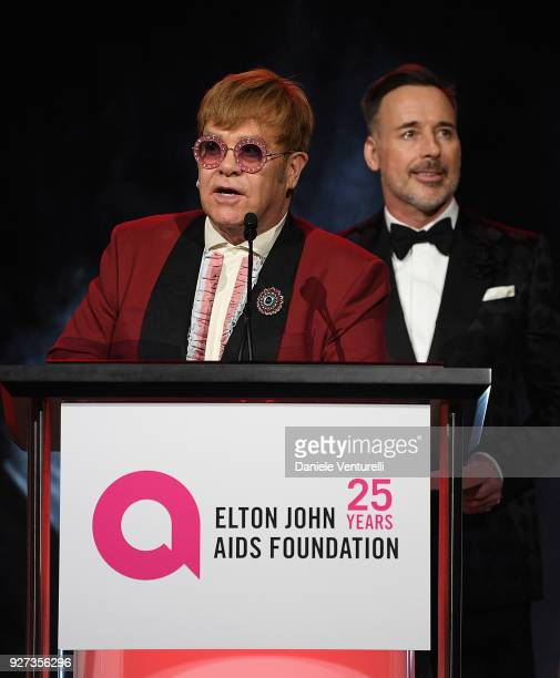 Sir Elton John and David Furnish attend Elton John AIDS Foundation 26th Annual Academy Awards Viewing Party at The City of West Hollywood Park on...