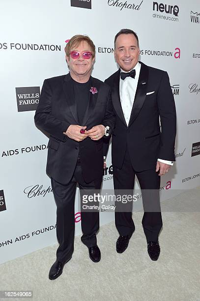 Sir Elton John and David Furnish attend Neuro at 21st Annual Elton John AIDS Foundation Academy Awards Viewing Party at West Hollywood Park on...