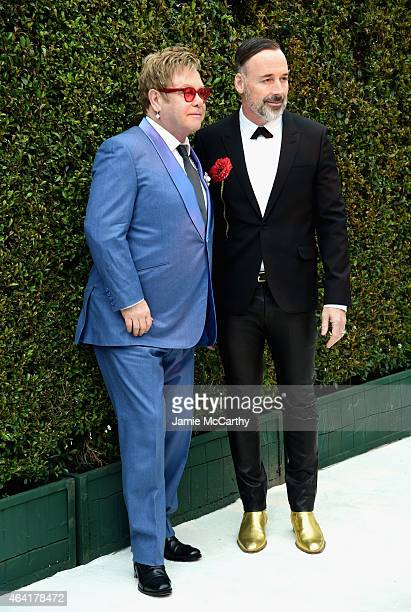 Sir Elton John and David Furnish attend the 23rd Annual Elton John AIDS Foundation Academy Awards Viewing Party on February 22 2015 in Los Angeles...
