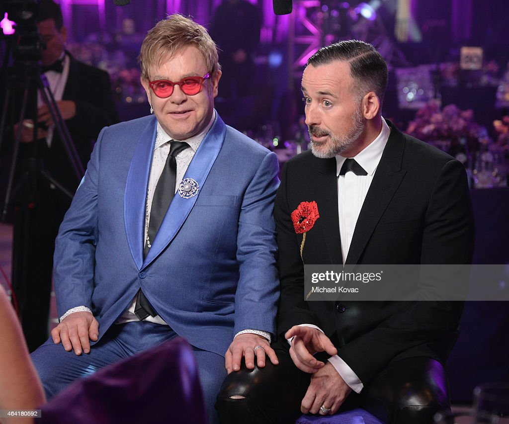 Sir Elton John and David Furnish attend the 23rd Annual Elton John AIDS Foundation Academy Awards Viewing Party on February 22, 2015 in Los Angeles, California.
