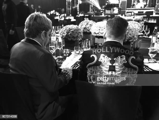 Sir Elton John and David Furnish attend the 26th annual Elton John AIDS Foundation Academy Awards Viewing Party sponsored by Bulgari celebrating EJAF...